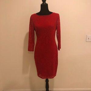 Moda Lacy Red Dress
